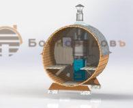 Мини бочка-баня конструкция